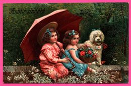 Cp Fantaisie Embossed - Gaufrée - Amitié Sincère - Fillettes - Fillette - Parapluie - Chien - Panier - Fleur - 1908 - Fêtes - Voeux
