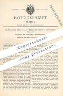 Original Patent - Dr. Hendrik & Jan Frederik Beins , Groningen , Holland , 1884 , Regulator F. Kohlensäure Kraftmaschine - Historische Dokumente