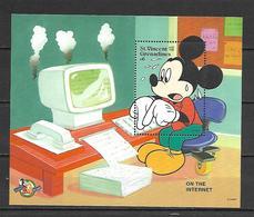 Disney St Vincent Gr 1998 On The Internet MS MNH - Disney