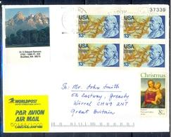 K55- USA United States Postal History Cover. Post To U.K. England. Christmas. - Postal History