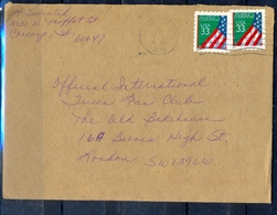 K57- USA United States Postal History Cover. Post To U.K. England. Flag. - Postal History