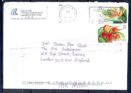 K58- USA United States Postal History Cover. Post To U.K. England. Flowers. - Postal History