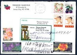 K62- USA United States Postal History Cover. Post To U.K. England. Tree. Flowers. - Postal History