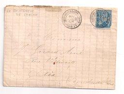 LE BOURGNEUF De CHALON : Lettre De 1880 : Cachet à Date Type 18 : Saône Et Loire - Marcophilie (Lettres)