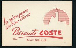 BUVARD:  BISCUIT COSTE - LA RÉCOMPENSE DES BONS ÉLÈVES - MARSEILLE - FORMAT  Env. 13,5X21 Cm - Vloeipapier