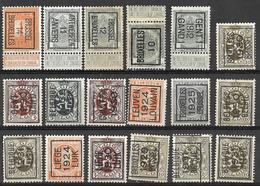 8Bv-944: Restje: 18 Zegels...verder Uit Te Zoeken...o.a. GENT 1 1912 GAND 1.... - Precancels