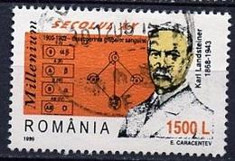 Roumanie - Rumänien - Romania 1999 Y&T N°4557 - Michel N°5430 (o) - 1500l K Landsteiner - 1948-.... Republiken