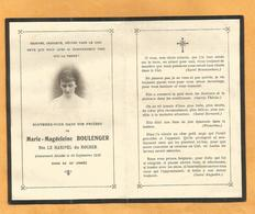 CARTE MEMOIRE  GENEALOGIE FAIRE PART DECES   Marie Magdeleine LE HARIVEL Du ROCHER SEYSSINS ISERE 1883 1919 - Décès