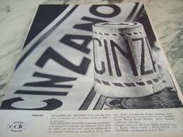 ANCIENNE PUBLICITE MELODIE DU MONDE ET  CINZANO 1960 - Alcools