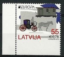 """LETONIA / LATVIA / LETTLAND - EUROPA 2013 - TEMA ANUAL """" VEHICULOS POSTALES"""" - SERIE PROCEDENTE DEL CARNET De ESSEN - 2013"""