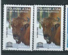 [28] Variété :  Services N° 132 Forêt Bialowieza Bison Brun-jaune Au Lieu De Brun + Normal ** - Variétés Et Curiosités