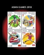 Maldives 2019 Mih. 8114/17 Asian Games In Indonesia. Horses. Equestrian. Skateboarding. Gymnastics. Badminton MNH ** - Maldives (1965-...)