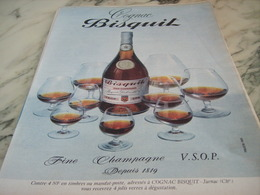 ANCIENNE PUBLICITE  COGNAC BISQUIT 1960 - Alcools