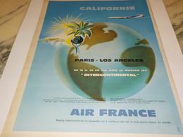 ANCIENNE PUBLICITE AVION BOEING JET CALIFORNIE  AIR FRANCE   1960 - Publicités