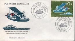 POLYNESIE POSTE AERIENNE 1975 PREMIER JOUR 1/2 SIECLE AVIATION A TAHITI PAPEETE 75F - Polynésie Française