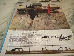 ANCIENNE   PUBLICITE UNE COURSE A FAIRE  VOITURE FLORIDE RENAULT 1960 - Voitures
