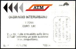 BIGLIETTO AUTOBUS MILANO - ATM - 1 ZONA - ORDINARIO INTERURBANO - Autobus