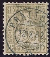 52 / 44 Sitzende Helvetia 1 Franken FASERPAPIER Sauber Vollstempel PRATTELN - Kat. 1800.-- - 1862-1881 Helvetia Assise (dentelés)