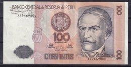 PEROU - 100 Intis Du 26-6-1987 TTB - Billets