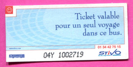 Ticket De Bus / STIVO - Cergy-Pontoise - Paris - Ile-de-France - Bus Ticket Transportation - Bus