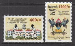 2002 Uganda Women's Congress Birds Coat Of Arms Makerere University Complete Set Of 2  MNH - Uganda (1962-...)