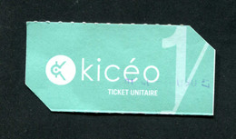 Ticket De Bus / KICEO / Réseau De Bus De La Ville De Vannes - Bus Ticket Transportation - Bretagne - Europe