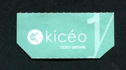 Ticket De Bus / KICEO / Réseau De Bus De La Ville De Vannes - Bus Ticket Transportation - Bretagne - Bus