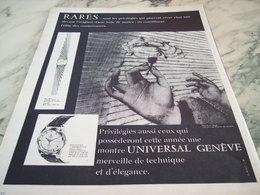 ANCIENNE PUBLICITE MONTRE UNIVERSAL GENEVE 1960 - Bijoux & Horlogerie