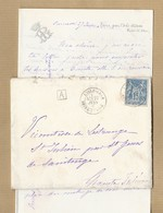 Sage 15c Bleu Sur Enveloppe Avec Texte Adressé A La Vicomtesse De Lestrange TAD L'Isle Adam Vers Saintonge 27/6/85 - Poststempel (Briefe)