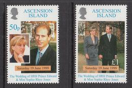 1999 Ascension Wedding Prince Edward Complete Set Of 2  MNH - Ascension (Ile De L')