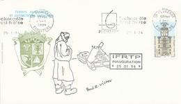 Lettre Avec Dessin P.E Victor Inauguration De L'IFRTP - Institut Français Pour La Recherche Et La Technologie Polaires - Événements & Commémorations