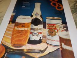 ANCIENNE  PUBLICITE BIERE 1664 KRONENBOURG 1960 - Alcools