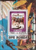 DPR Korea 1980 Sc. 1948 Conquistatori Cielo Spazio Zeppelin Sheet Perf. CTO Corea - Corée Du Nord