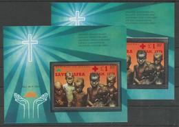 Nigeria Biafra Mi.Blocks 4A/4B Souvenir Sheets Perforated + Imperforated MNH / ** 1970 Overprinted Red Cross - Nigeria (1961-...)