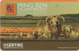 Malaisie : Genting City Of Entertainment : Ming Ren Restaurant - Cartes D'hotel