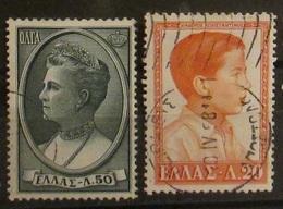 Grecia Greece 1957 Queen Olga And Prince Constantine - Grecia