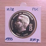 M/32 Médaille Commémorative ARGENT 1993 à La Mémoire De S.M. Le ROI BAUDOUIN Ier - SILVER - ZILVER - 1993-...: Albert II