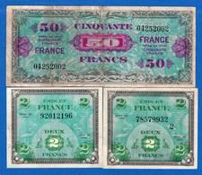 3 Billets - 1944 Drapeau/France