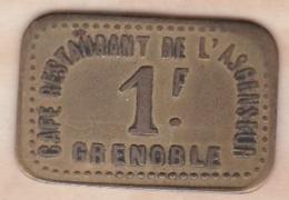 38 . Isère .Café Restaurant De L Ascenseur Grenoble 1 Franc - Monétaires / De Nécessité