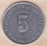 42 . Loire . Unieux Etablissement Jacob Holtzer 5 Centimes Contremarque Cloche - Monétaires / De Nécessité