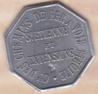 42 - LOIRE. Saint-Etienne Et Extensions. Chemin De Fer à Voie Etroite. 10 Centimes Contremarque W - Monétaires / De Nécessité