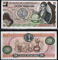 COLOMBIA - 1977 - VEINTE PESOS ORO ( $ 20 ) - UNCIRCULATED. CONDITION 9/10 - Colombie