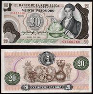 COLOMBIA - 1983 - VEINTE PESOS ORO ( $ 20 ) - UNCIRCULATED. CONDITION 9/10-TONING BORDERS - Colombia