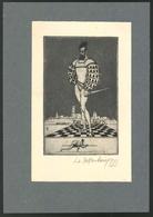 Exlibris Von H Für Joan Baucis, Edelmann Mit Dolch Auf Schachmuster Stehend - Exlibris