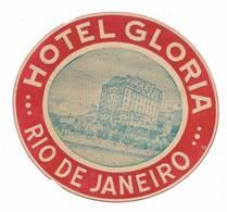 Brasil Brèsil Ancienne Etiquette Valise Hotel Gloria Rio De Janeiro Brazil Old Luggage Label - Etiquettes D'hotels