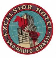 Brasil Brèsil Ancienne Etiquette Valise Hotel Excelsior São Paulo Brazil Old Luggage Label - Etiquettes D'hotels
