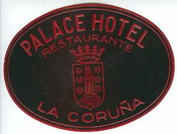 Etiquette Valise Palace Hotel La Coruña Espagne España Spain Luggage Label - Etiquettes D'hotels