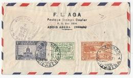 Ethiopia Ethiopie Mi.271/74 Complete Set On Registered Cover + 3 Values On Back 1950 UPU - Äthiopien