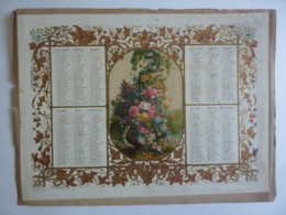 CHROMOLITHOGRAPHIE  ALMANACH -CALENDRIER 1858  -Chromo Médaillon Vase Avec Fleurs -Edit Dubois-Trianon - Calendriers