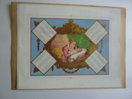 CHROMOS-LITHOGRAPHIE  ALMANACH - CALENDRIER  1870  Médaillon Allegorie Ma Mère Et L'enfant  -Edit Mayoux Et Honoré Imp. - Calendars